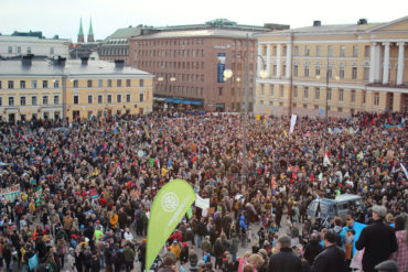 People gathering at the Senate Square before the march. The photo was taken with solar powered camera. Photo: Tiina Junno